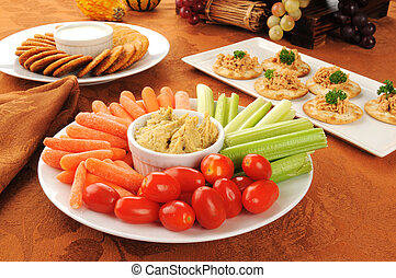 Healthy holiday snacks - A vegetable platter with crackers...