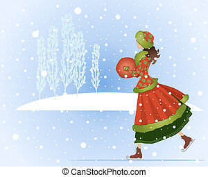 ice skating - an illustration of a woman ice skating in...
