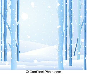 winter forest - an illustration of the edge of a forest in...