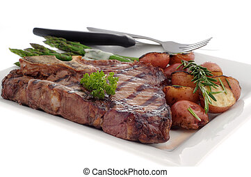Grilled T-bone Steak - Grilled t-bone steak with rosemary...