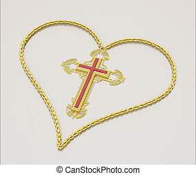 kross and heart - Cross and chain in the form of heart