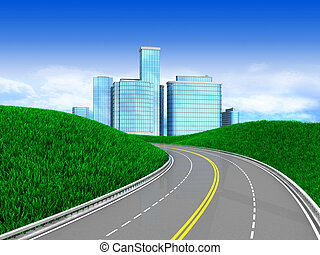 road to city - 3d illustration of green meadow with road to...