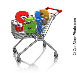 Sale in shopping cart - Word sale in cart shopping, 3d image