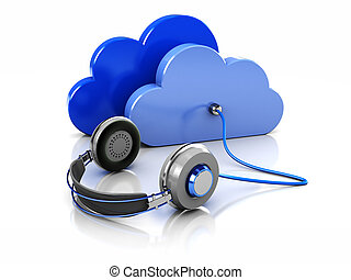 Radio - 3d image blue clouds with headphone