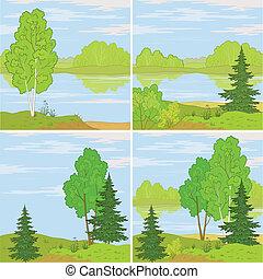 Set forest landscapes - Set summer landscapes: forest, river...