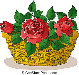 Basket with flowers roses