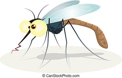 Mosquito Character - Illustration of a funny cartoon thirsty...