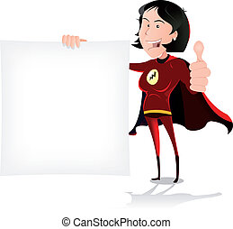 Super Girl Hero Holding White Sign - Illustration of a happy...