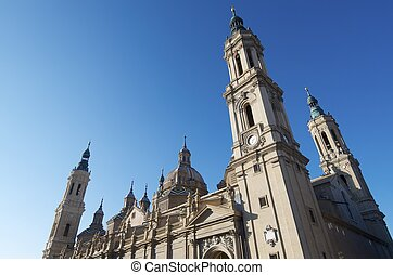 Pilar - view on a cloudless day of Pilar Cathedral,...