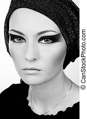 Stage makeup - Black and white portrait of beautiful young...