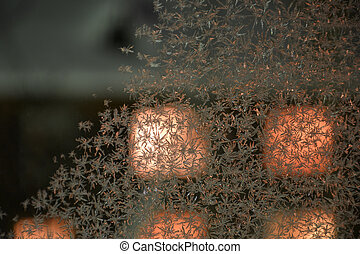Frozen window patterns - winter sample in a window at night...