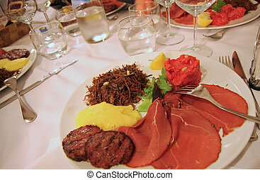 plate with horse meat