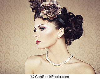 Retro portrait of beautiful woman. Vintage style. Fashion...