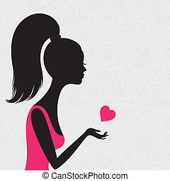 Silhouette of a young woman in love