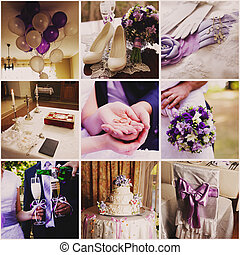 Collage from nine wedding  photos