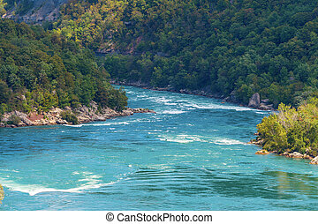 Niagara River rapids just below Falls in Niagara Falls -...