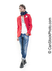 Fashion man - Une isolated fashion man standing on white...