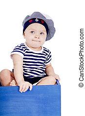 CÙte, pequeno, bebê, marinheiro, moda, tocando