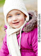 cute little girl with hat and scarf in autumn winter - cute...