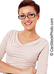 young smiling woman with glasses and short haircut
