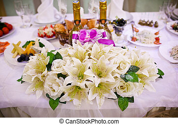 Table set for a wedding reception - Table set for an event...
