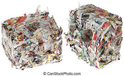 recorte, papel, Briquetas