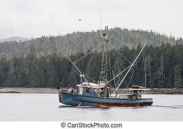 Blue Shrimp Boat in Alaskan Waters - A blue shrimp boat...