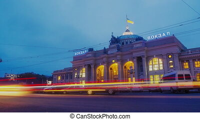 Night city traffic timelapse near Main railway terminal in Odessa, Ukraine.