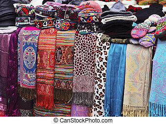 Turkish clothing market with scarfs and hats