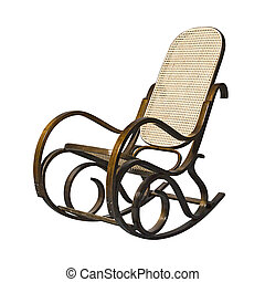 Rocking chair - Old-fashioned rocking chair isolated over...