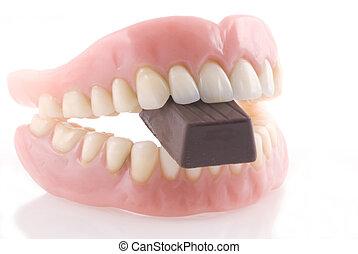 Dentures and chocolat.