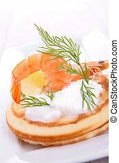 canape with cream and shrimp