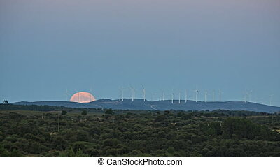Full moon over windmills - Full moon rising over modern...