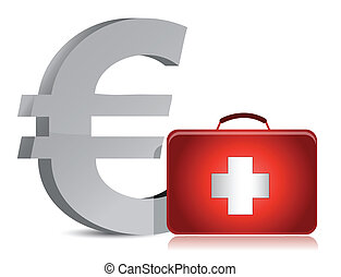 euro and medical kit illustration design over white