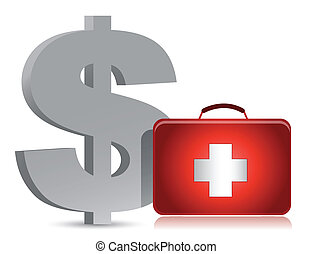 dollar and medical kit illustration design over white