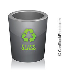 glass recycle trashcan illustration