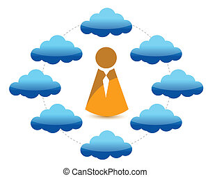 cloud network and icon illustration design over a white...