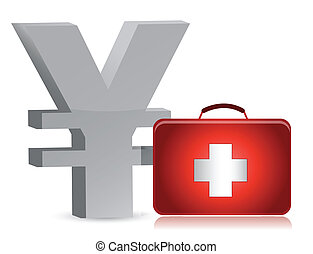 yen and medical kit illustration design over white