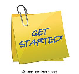 get started post it illustration design over white