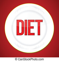 diet plate illustration graphic design over a red background