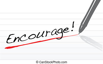 encourage written on a notepad paper illustration design