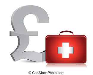 pound and medical kit illustration design over white