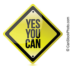 yes we can yellow illustration design over white