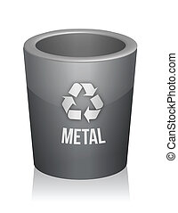 Metal recycle trashcan
