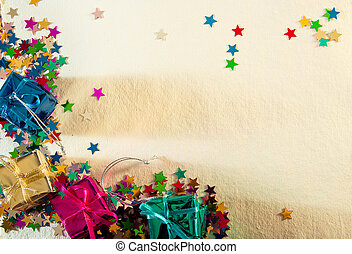 Christmas or birthday card with stars and gifts