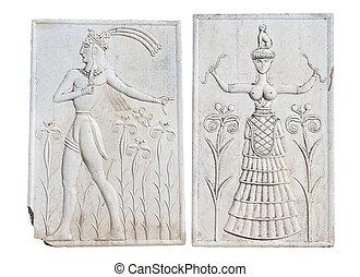 antiga, placa, crete, Grécia