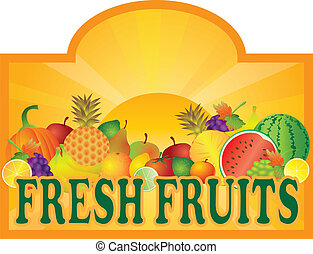 Fresh Fruits Stand Signage with Sun Illustration - Grocery...