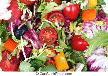 Fresh spring vegetables salad mix, backgorund