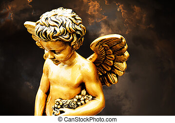 cherub on dark sky
