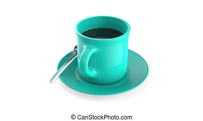 Coffee cup rotates on white background